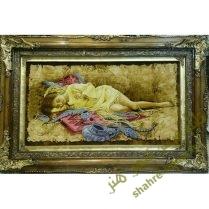 تابلو فرش دستبافت دختر جواهر فروش
