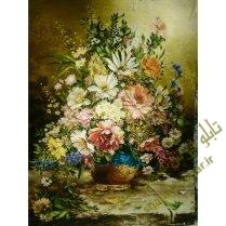 تابلو فرش دستبافت گلدان گل جدید