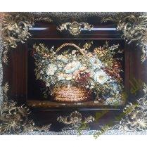 تابلوفرش سبد گل با ضمینه مشکی و قاب چوبی ۲۶۳