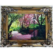 تابلوفرش جدید پارک با شکوفه های صورتی بافت کاشان کد ۲۷۸