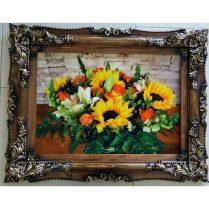 تابلوفرش جدید گلهای آفتابگردان بافت کاشان کد ۲۸۸