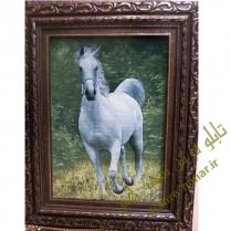 تابلو فرش دستبافت اسب سفید