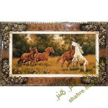 تابلو فرش ماشینی اسب وحشی