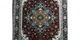 فرش ماشینی ۷۰۰ شانه کاشان  طرح هریس سورمه ای