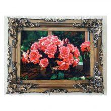 تابلوفرش جدید گلدان گل های قرمز بافت کاشان کد ۳۰۰